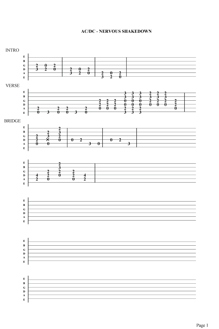AC/DC Nervous shakedown guitar tab Pictures Taken