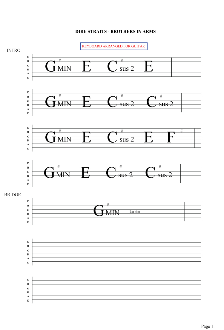 Brothers In Arms Guitar Chords