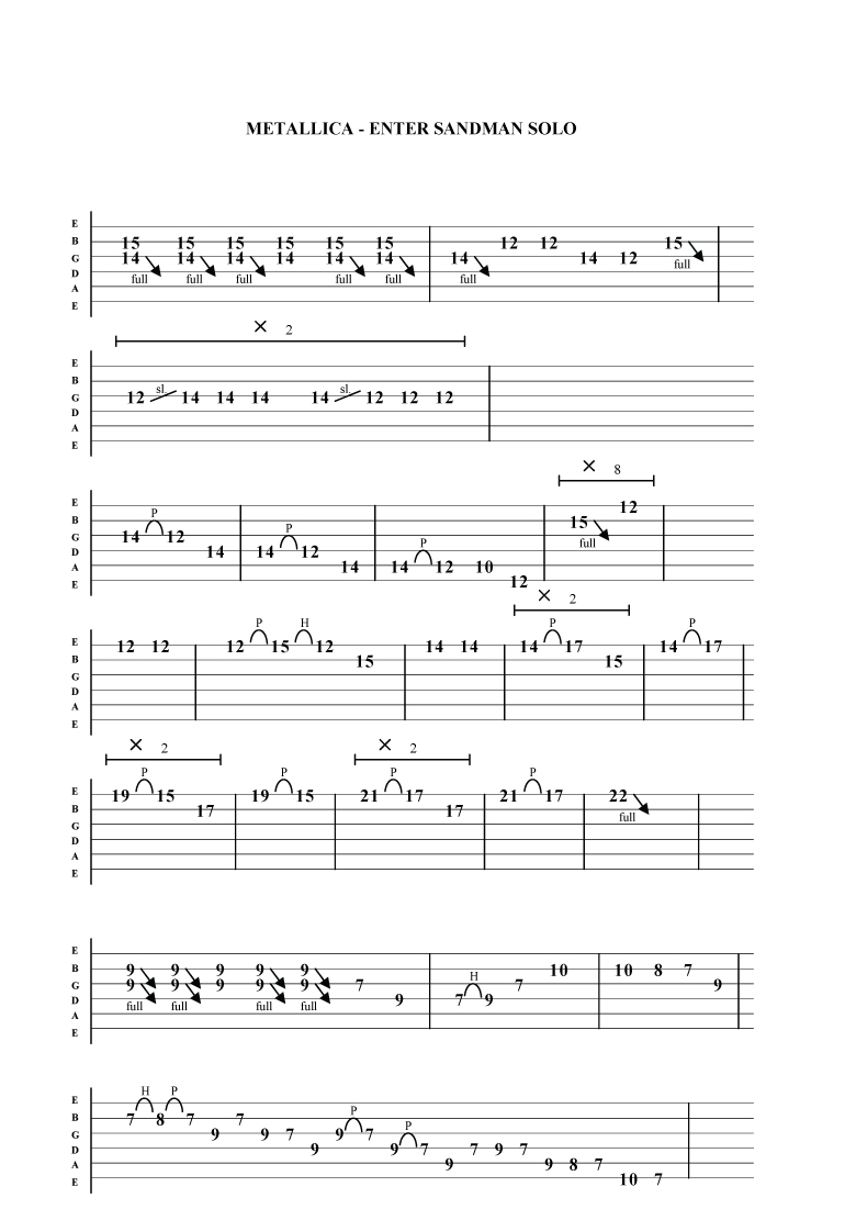 Metallica enter sandman guitar tab superrockguitar 2008 2014 site by nw designs hexwebz Image collections