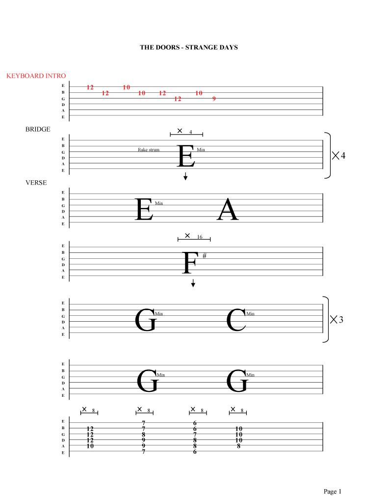 the-doors-strange-days-guitar-tab  sc 1 st  Free Rock Guitar Lessons and Tabs & The Doors - Strange days guitar tab