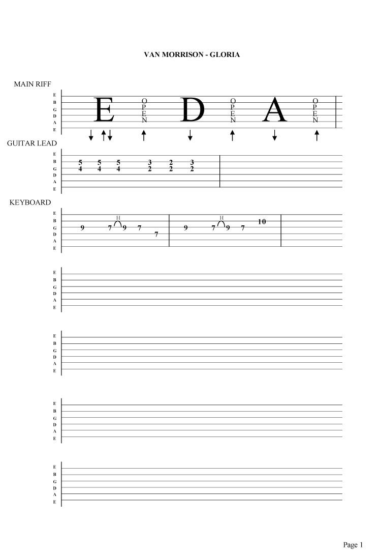Van Morrison Gloria Guitar Tab